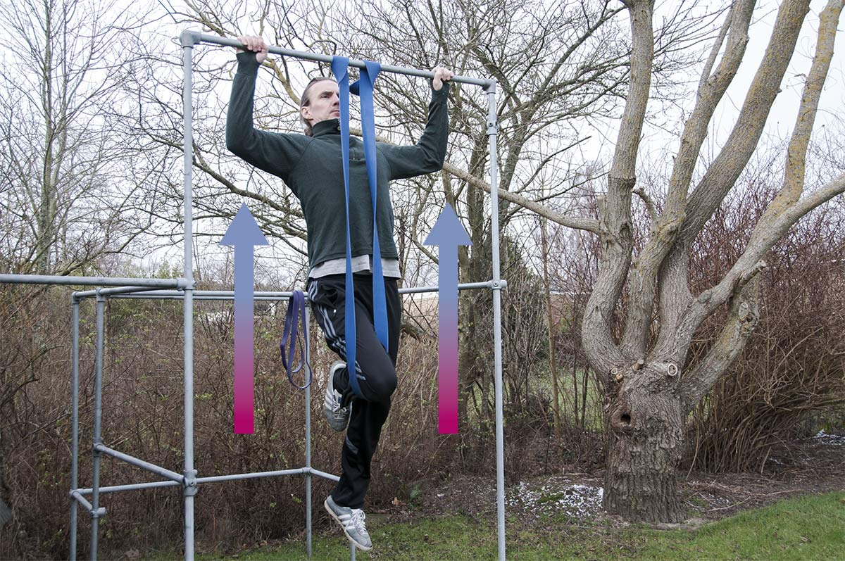 Træningselastik som hjælp til pull-ups