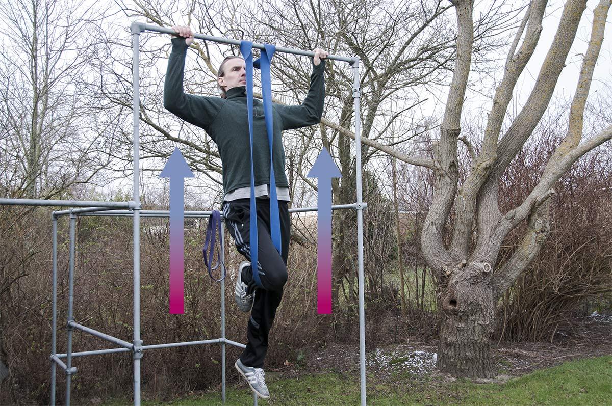 Assisterede pull ups med elastik