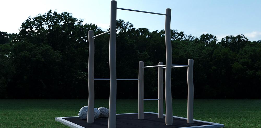 3D af udendørs træningsstativ i robinie stolper